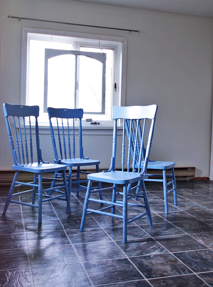 4 Blue Chairs