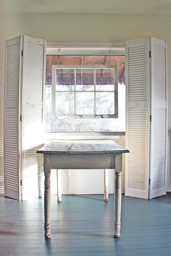 Empty Table with Shutters