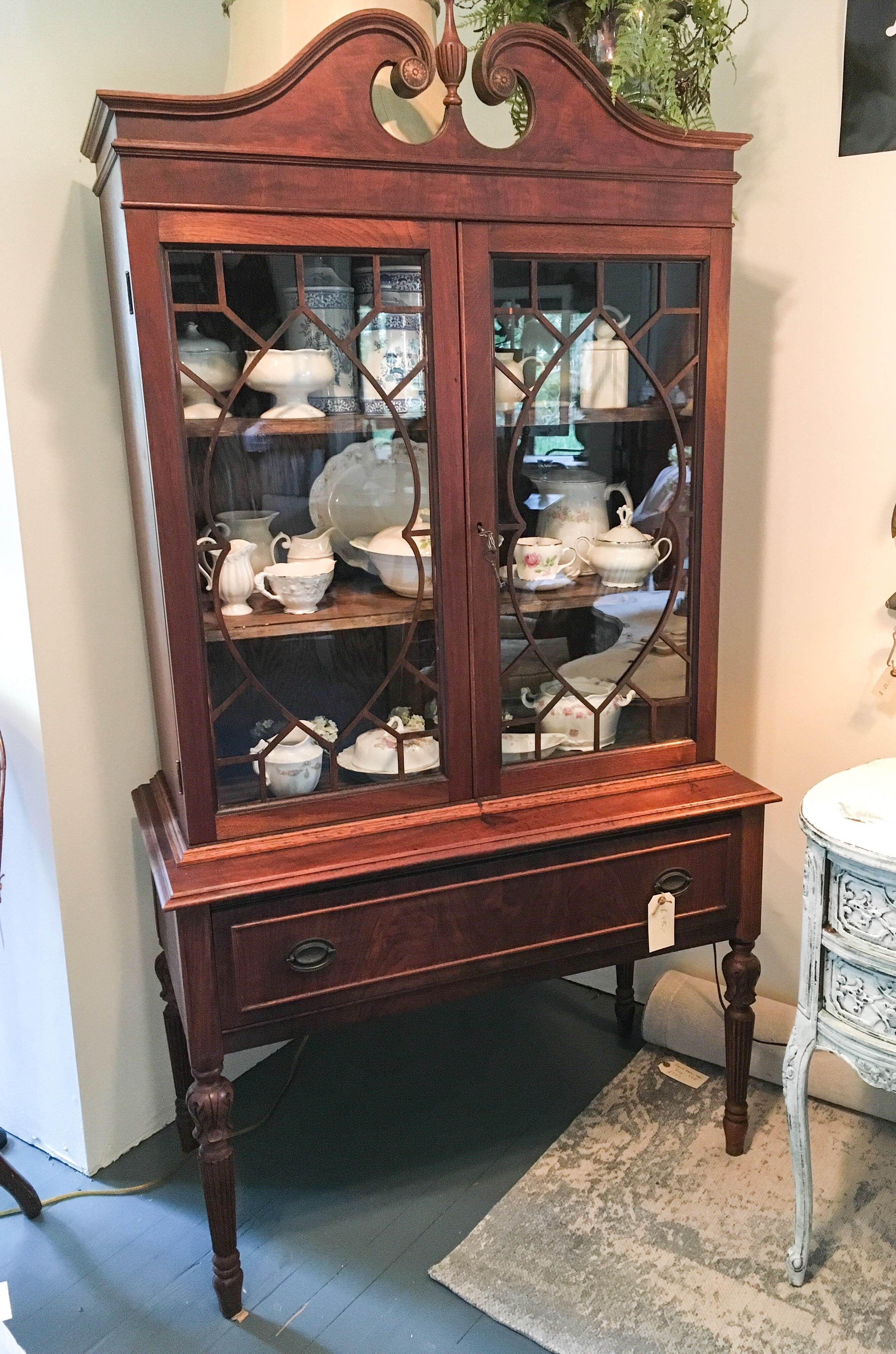 Land Haus Antiques Has A Great Blend Of Rustic And Fine Furniture Pieces.  One Of The More Elegant Pieces Is Certainly This Federal Style China  Cabinet.
