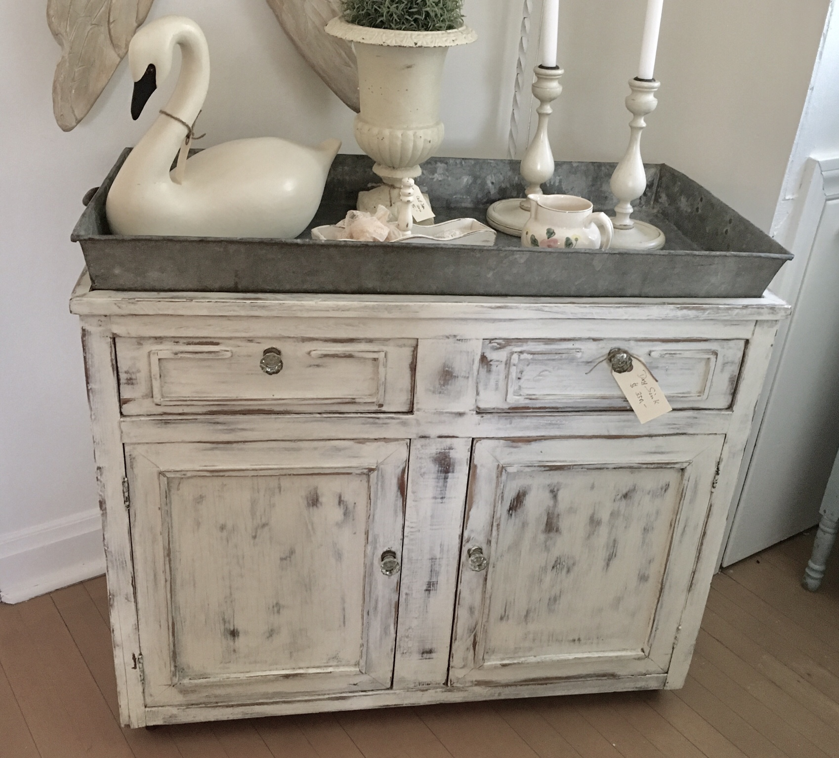 exceptional Antique Dry Sink For Sale Part - 12: For Sale: Dry Sink with Galvanized Tray Top